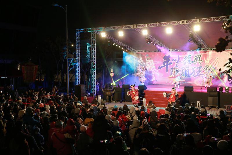 今(1)日《年味復興‧陣頭狂響》活動吸引眾多觀眾前來參與一場「廟會劇場」的藝術盛宴