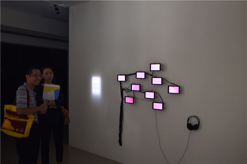 觀眾欣賞藝術家黃盟欽作品(黃盟欽,身體景觀,2016,裝置與新媒體)