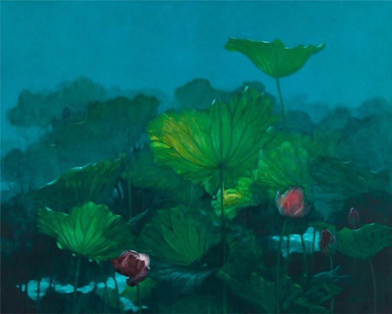 席慕蓉〈晨荷〉1995 油彩、畫布 130.3×162.1 cm