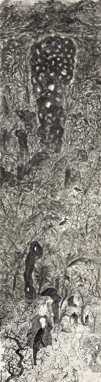 于彭〈吞雲吐霧〉2012 彩墨、紙 181×48 cm