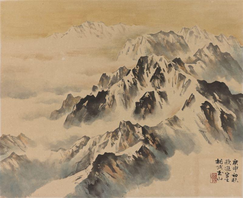 林玉山〈瑞士雪山〉1980彩墨、金、紙本48.5x60cm國立臺灣美術館典藏