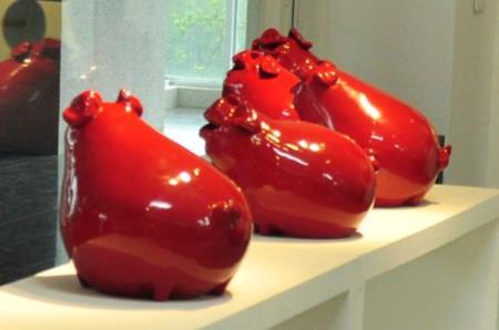 2F漆藝工坊-討喜之紅豬漆器