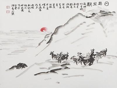 林永發〈日昇之都〉102×102_cm_水墨。