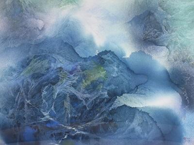 郭明福〈山靈〉82.5×108_cm水彩。