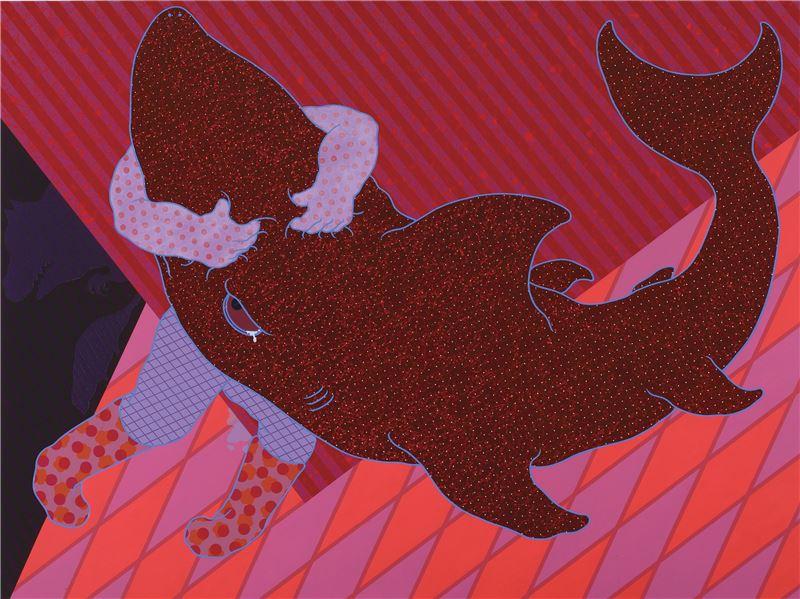廖堉安〈蹩腳的心靈溝通練習 No.3〉2009 壓克力顏料、畫布 150×200 cm