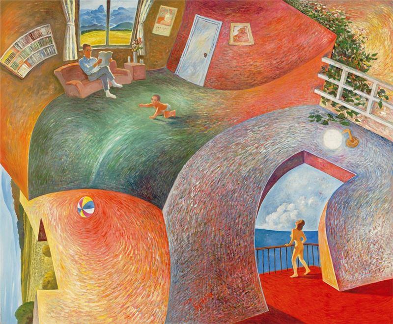 蘇新田〈內即是外的房子〉1991 油彩、畫布 209×172 cm
