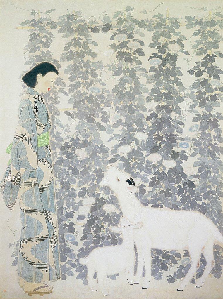 林之助〈朝涼〉1940 膠彩、紙本 245.3×184.5 cm