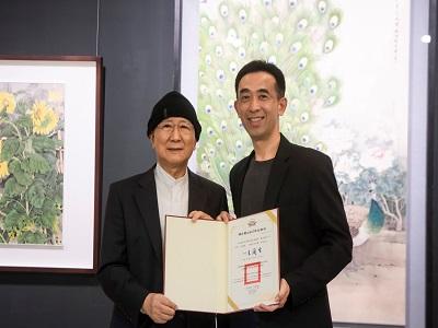 國父紀念館王蘭生館長致贈感謝狀予藝術家張克齊教授。