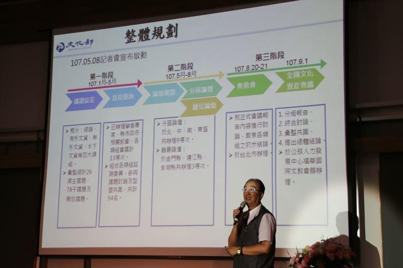 文化部文化資產局長施國隆說明全國文化資產會議暨分區論壇整體規劃
