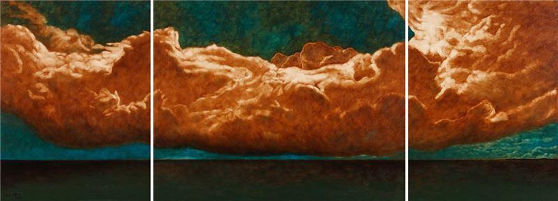 席慕蓉〈曠野〉2012 油彩、畫布 130.3 ×356 cm