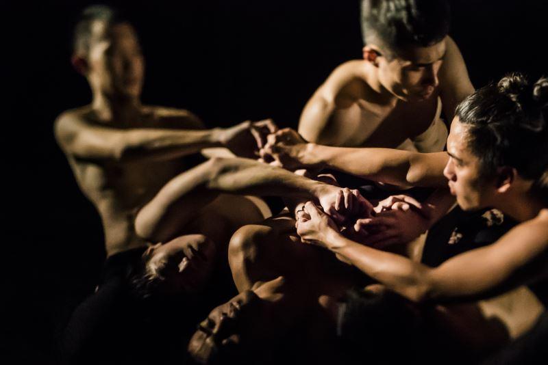 《阿棲睞》以重覆的高度體能動作,讓舞者身體在筋疲力竭產生身體線條與節奏變化,戲劇張力十足。(高信宗攝)