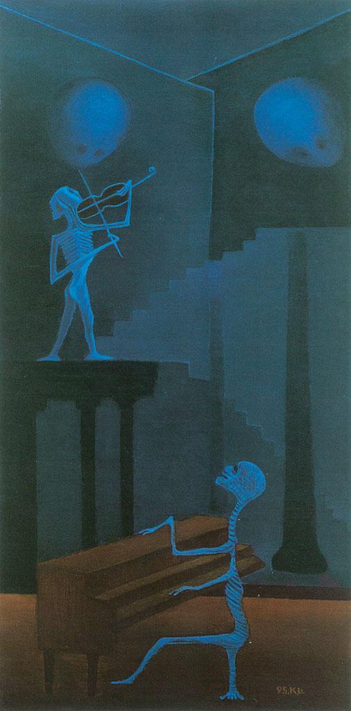 林加言〈有來無去〉1995 油彩、畫布 122×61 cm