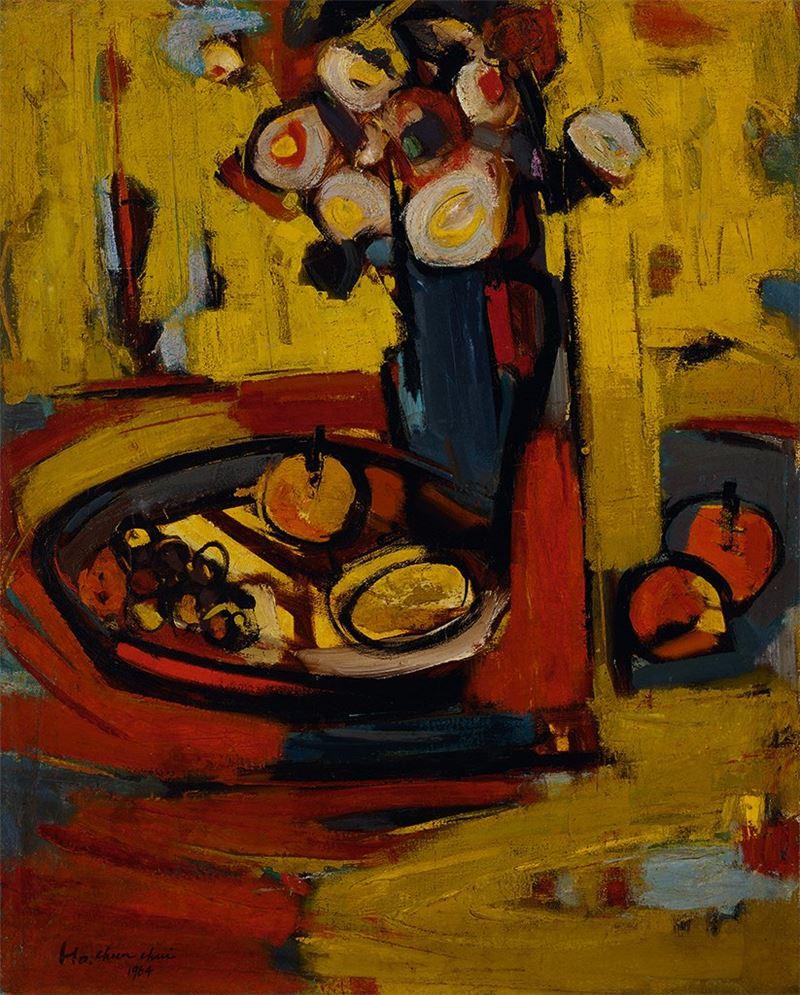 何肇衢〈花與果〉1964 油彩、畫布 90.5×72.5 cm