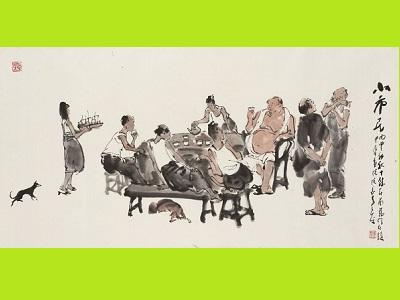 李奇茂教授展出作品〈小市民〉_2016-水墨設色、紙本-_69×137.5cm