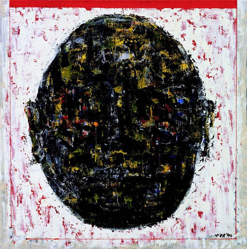 CHEN Shui-tsai〈Human Head 1994-07〉1994 Acrylic, ink on canvas 154×154 cm