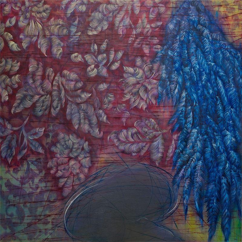 謝鴻均〈無效的飛行計畫之二〉2011 油彩、畫布 173×173 cm