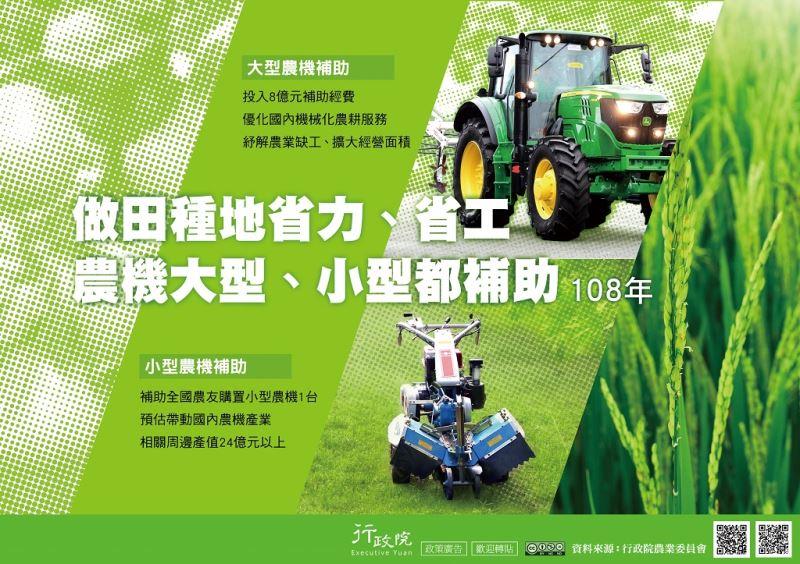 補助農友購置大型小型農機