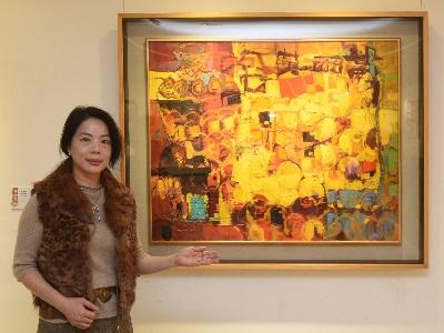 06台北市西畫女畫家畫會理事長謝蘭英作品《豐年異彩》