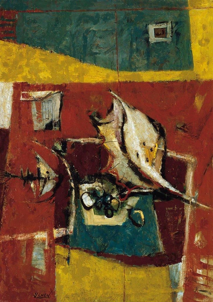 陳銀輝〈海鮮〉1967 油彩、畫布 89.5×63.5 cm