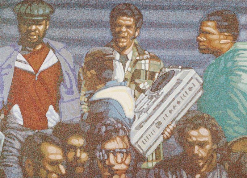 韓湘寧〈聽收音機的街人〉1972 壓克力顏料、畫布 182.5×253.5 cm