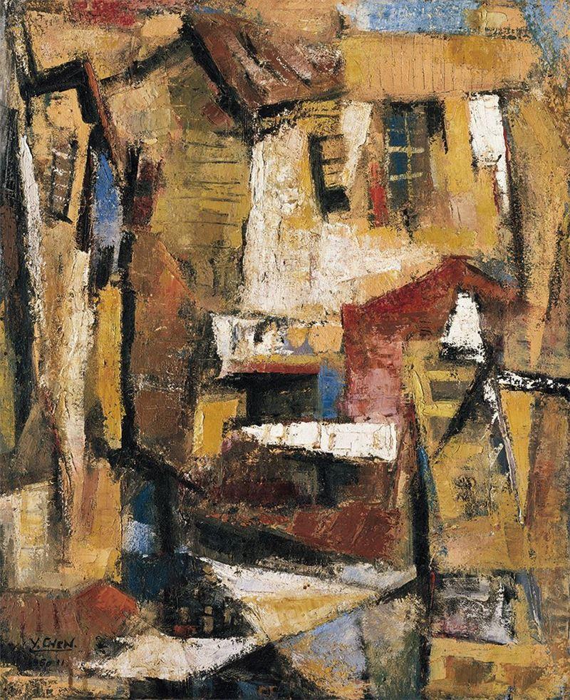陳銀輝〈壁〉1960 油彩、畫布 80.5×66 cm