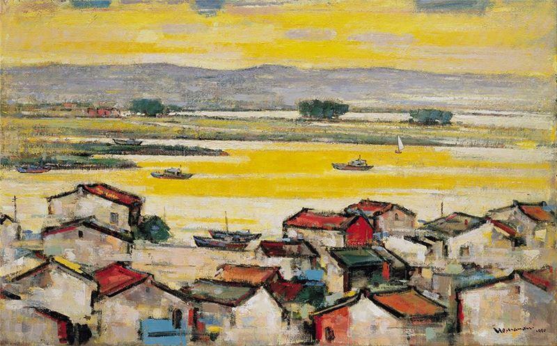 何肇衢〈安平夕照〉1990 油彩、畫布 72.8×116.5 cm