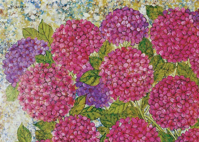 吳昊〈繡球花與水果〉局部圖