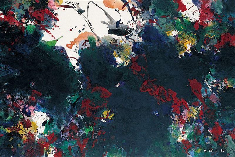 陳正雄〈愛的火焰〉1987 壓克力顏料、畫布 97×145 cm