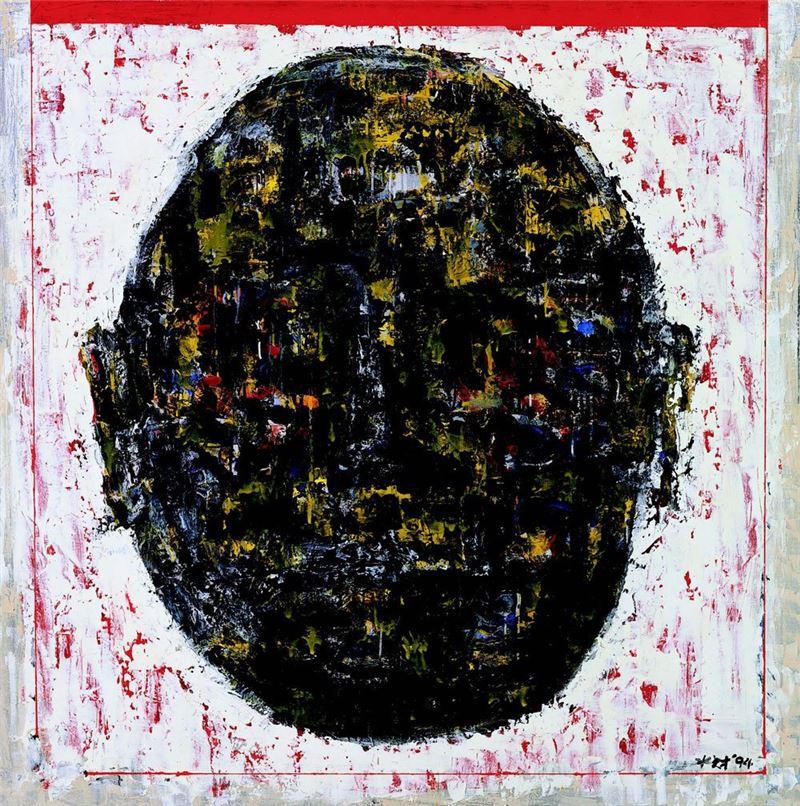 陳水財〈人頭 1994-07〉1994 壓克力顏料、墨、畫布 154×154 cm