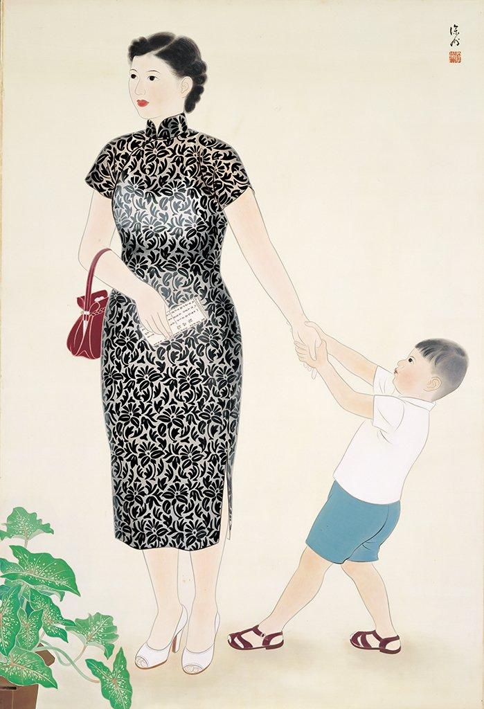 許深州〈賞畫〉1955  膠彩、紙本  134×91.4 cm