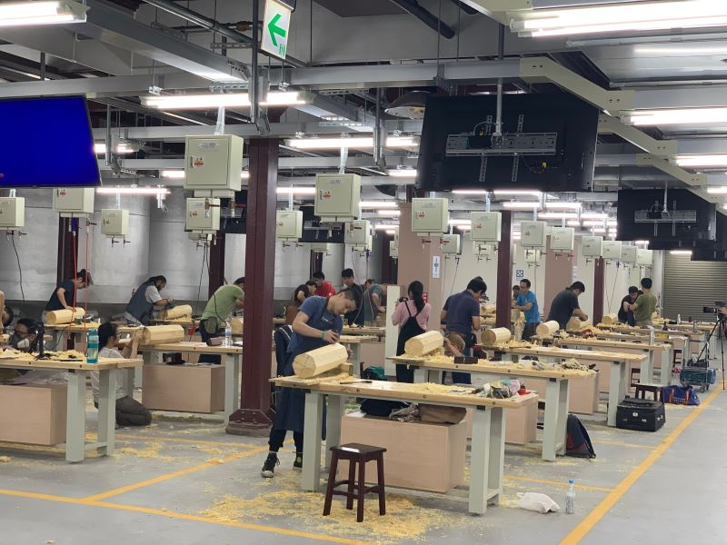 Carpentry students at the workshop.