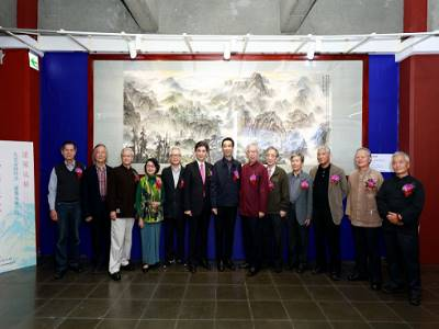 """Group photo of the distinguished guests attending the unveiling ceremony of the great painting, """"Taiwan Charm"""""""