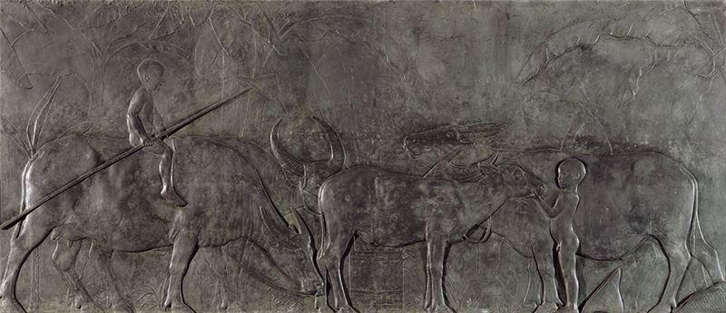 Huang Tu-shui〈Taiwan Buffalos〉1930 Sculpture 220×520 cm
