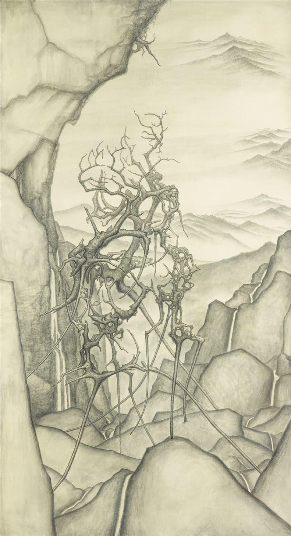 林鉅〈枯木羅漢 七〉2004 水墨、畫布 218×117 cm