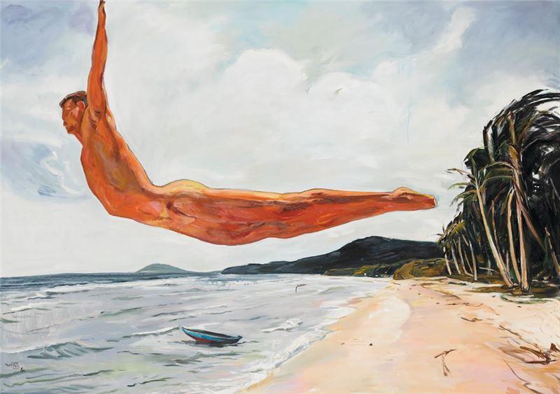 顧福生〈晴天〉2009 油彩、畫布 122×173 cm