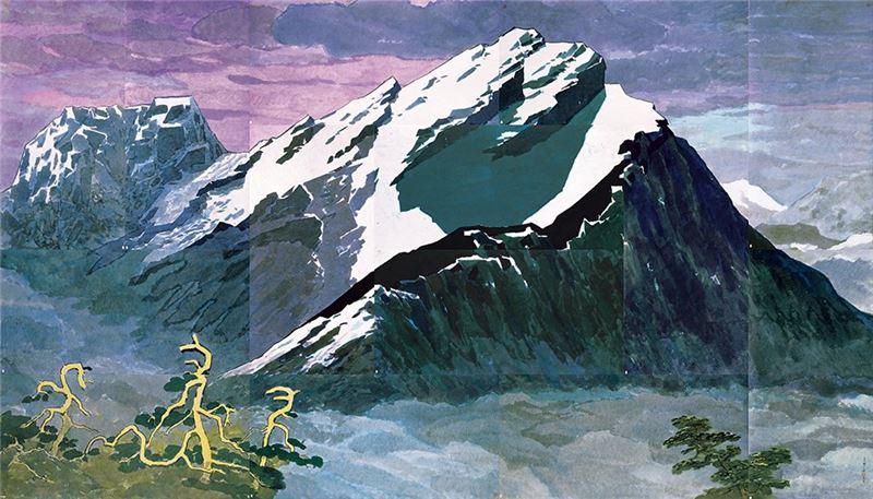 馬白水〈玉山積雪〉1989 水彩、紙本 244×427 cm