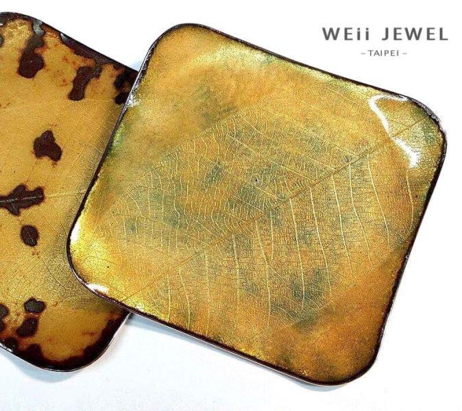 葉紋琺琅盤