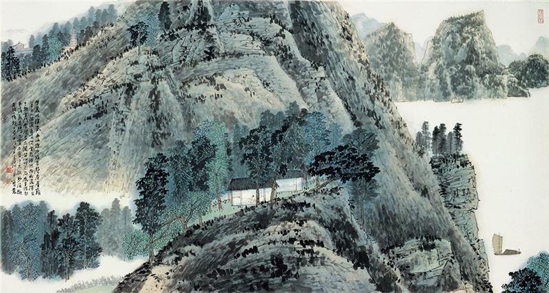 江兆申〈巖吐清氣〉1994  彩墨、紙本  97.2×181 cm