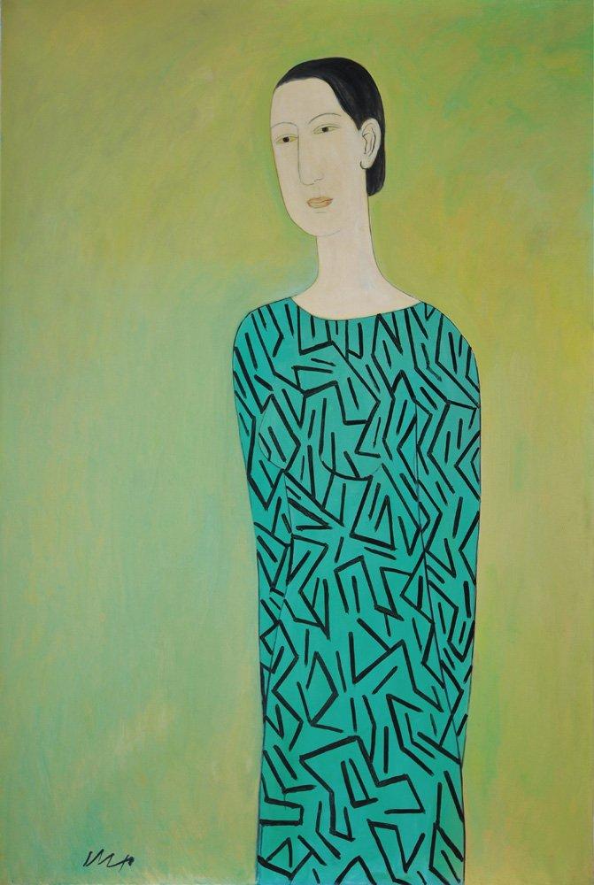 邱亞才〈仕女〉油彩、畫布 193.5×130 cm