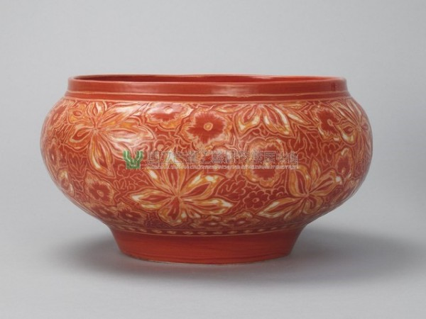 Coral Red Veined Bowl with Floral Pattern