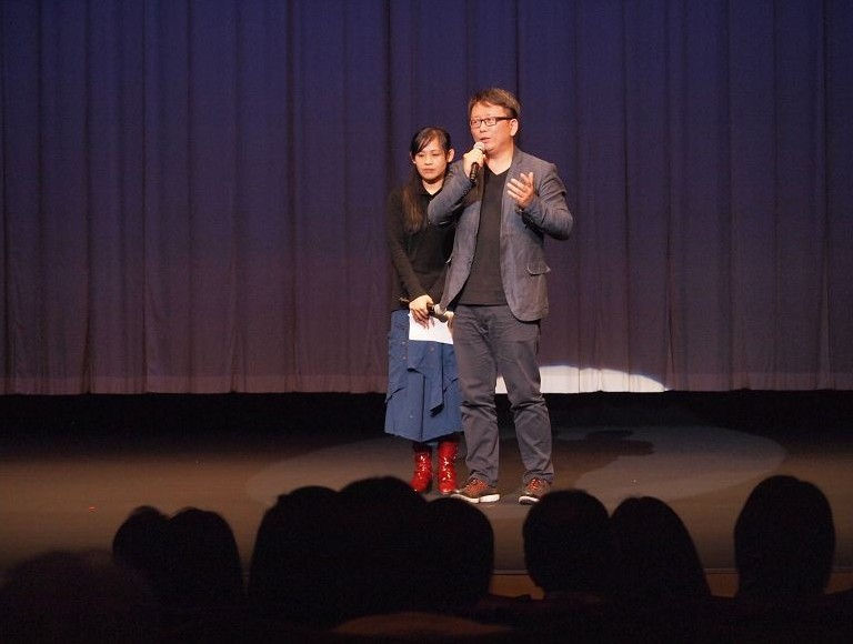 Golden Horse Award-winning director Yang Li-chou (right) attends the premiere held at Iino Hall of Tokyo on March 28.