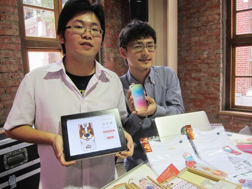 The founders of Labin Technology Inc. pose with their award-winning products.