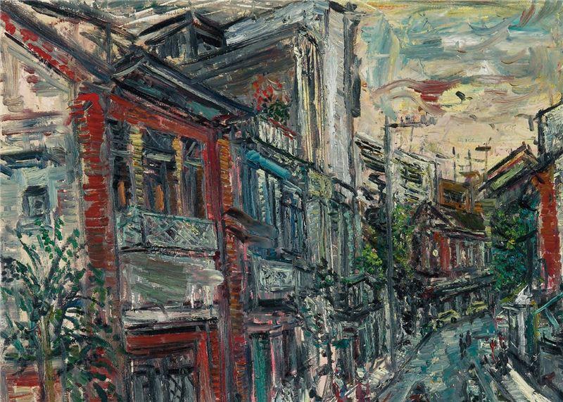 陳來興〈淡水老街〉局部圖