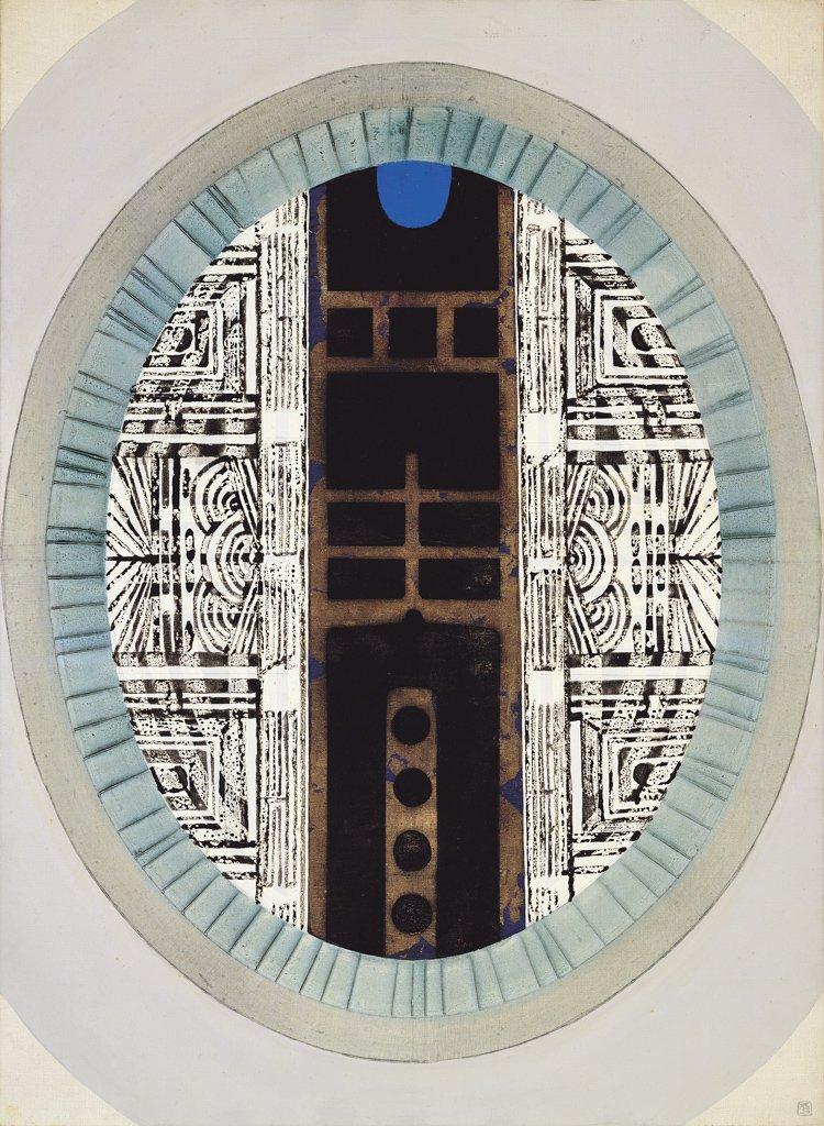 廖修平〈鏡之門〉1967 油彩、畫布 100×73 cm