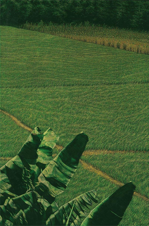 黃銘昌〈蕉葉迎風(水稻田系列)〉1998 油彩、畫布 145×96.5 cm