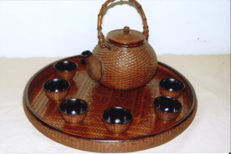 籃胎漆器茶具組