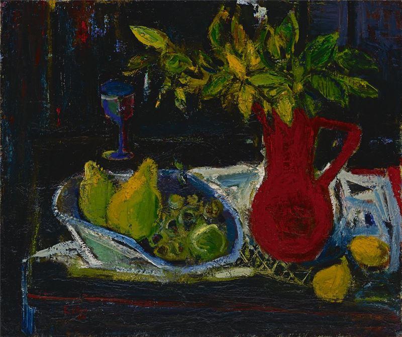 陳正雄〈紅花瓶〉1963 油彩、畫布 61×72.6 cm