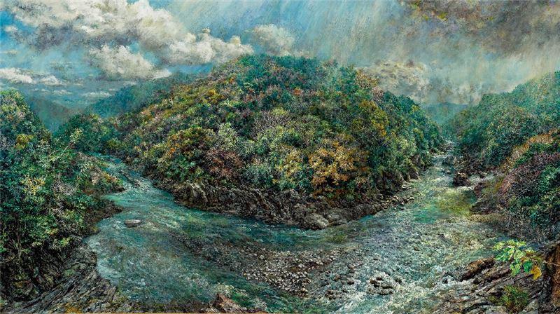 洪天宇〈廬山原貌〉2013 油彩、鋁板 182×348 cm