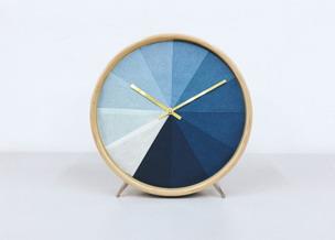 Indigo Dye Clock-21x21cm/ Wood, Indigo, 100% cotton
