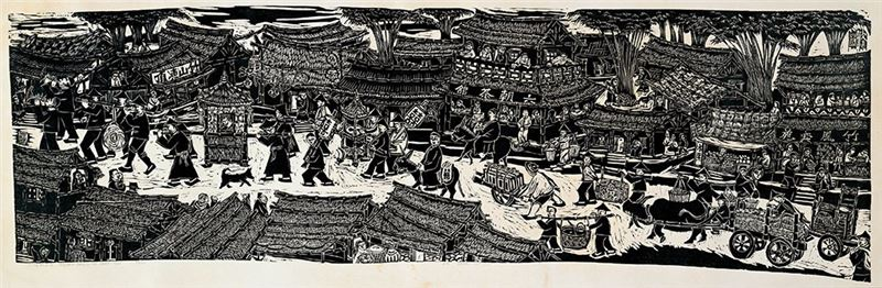 Chu Wei-bor〈The Happy Bamboo Town〉1977 Woodcut 63 x 212.5 cm